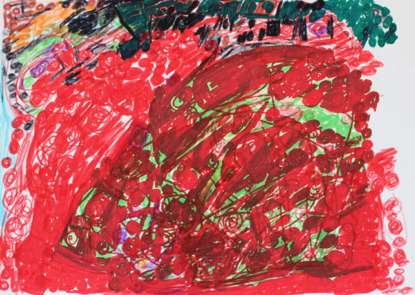 Untitled 8 (Red and green) by Untitled 3 (Black, pink, orange)