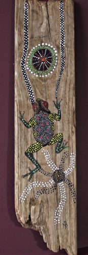 Frog on timber by Whistling Ear Art
