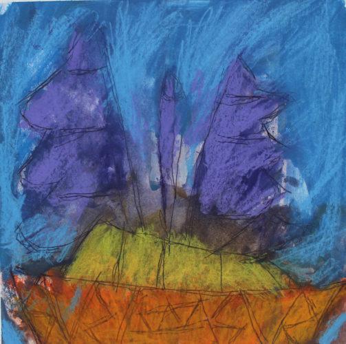 Orange Boat Purple Sail Blue Sky by Orange Boat Purple Sail Blue Sky