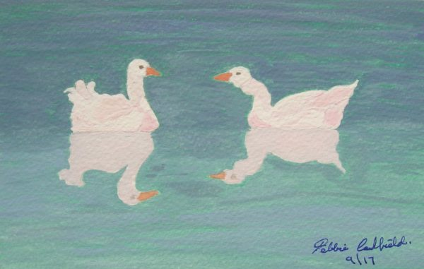 Summer Geese by Winter Ducks