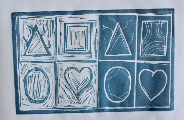 Linocut, Blue and White by Linocut, Blue and White