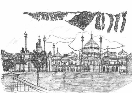 Brighton Pavillion [Black and White Version] by Babajide Brian's Artwork