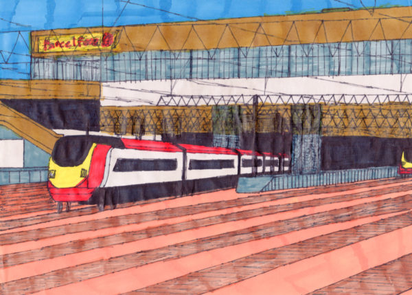 Virgin Train Leaving London Euston Station by Artist Mark Lloyd