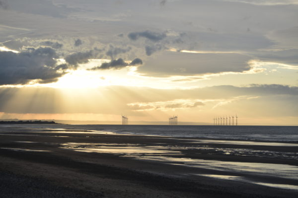 Sunsetting on Redcar windfarm by tea for two