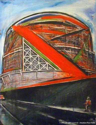 'Study of Mass in Space, Gasometer, (Worthing)'  2002 by 'Shoreham-by-Sea (Abstract Painting)'   2017