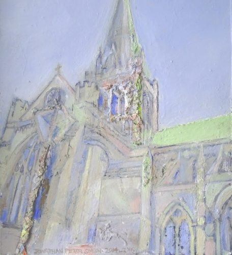 'Chichester Cathedral IV'  2014-2016 by detail of 'Shoreham-by-Sea (Abstract Painting)'   2016