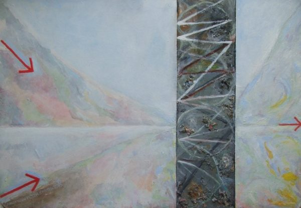 SOLD  'Ambush -Memorial to the Ancient Welsh who Defended their Land'  2016 by 'Painting 4 (Driving Past a Scottish Loch)'  2004