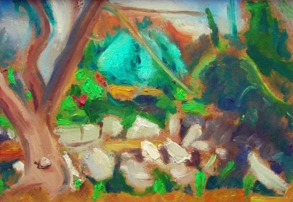 'Triangular Structure of Colour (Lemba, Cyprus)'  2006 by SOLD  'Outdoor Painting # 2 (Flowers and Shrubbery) (Lemba, Cyprus)'