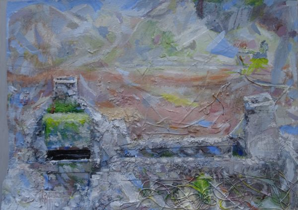 'Encrusted Abstract Feast (Autumn Valley, Cwmorthin, North Wales)' 2016-2017 by 'Painting 4 (Driving Past a Scottish Loch)'  2004