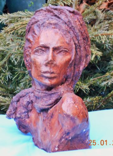 sculpture of friend by Theresa Patterson