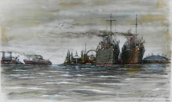 Ships on the Thames by Roy Milburn