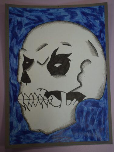 Mixed media Skull by david gibson
