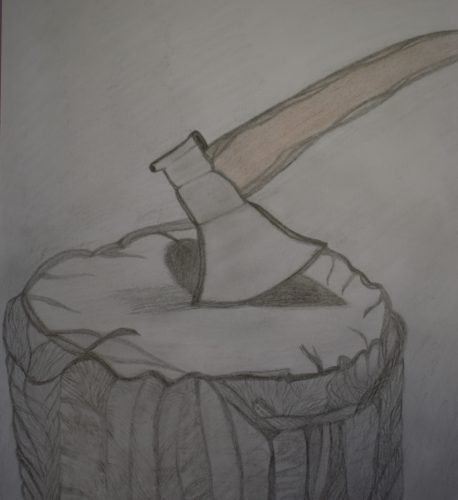 Tree Stump with an Axe by Melissa Hamilton