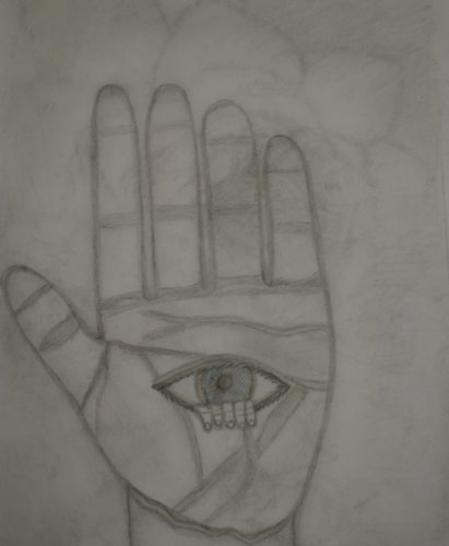 Hand with an eye by Melissa Hamilton