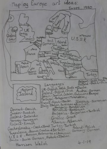 Map of Europe 1990 by Harrison Walsh