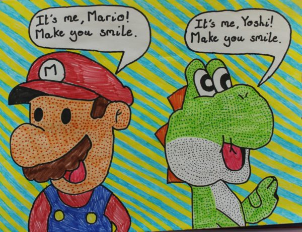 Mario and Yoshi by Harrison Walsh