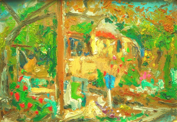 SOLD 'Complex Configuration From Old Studio (Lemba, Cyprus)' by SOLD  'Outdoor Painting # 2 (Flowers and Shrubbery) (Lemba, Cyprus)'