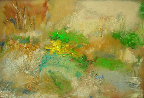 SOLD 'Outdoor Painting 2 (Flowers and Shrubbery, Sandy Beach, Lemba, Cyprus)' 2005 by Jonathan Peter Smith