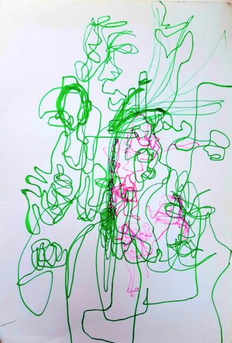 Green/Pink by Oil Pastel Sketch V