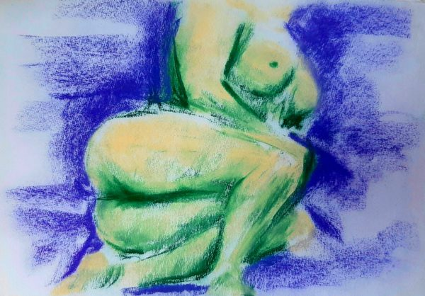 Yellow and Green Study by Oil Pastel Sketch V