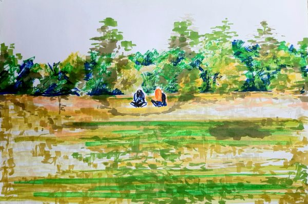 The Park by Oil Pastel Sketch V