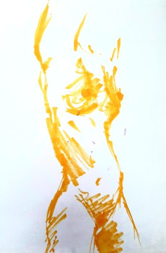 Study in Yellow by Oil Pastel Sketch V