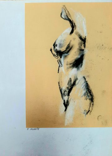 One Minute Life Study ii by Oil Pastel Sketch V
