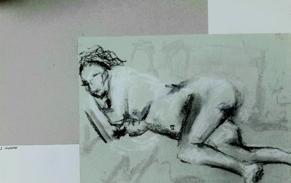 Black and White Life Study by Oil Pastel Sketch V