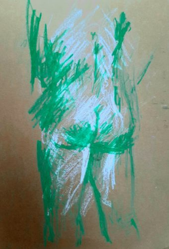 Life Study In Green by Oil Pastel Sketch V