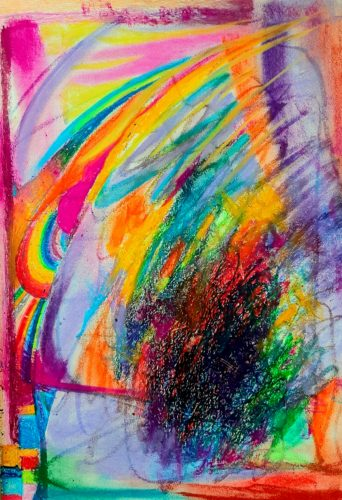 Oil Pastel and Soft Pastel Sketch x by Green Triangle Teal Circle