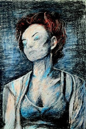 Amanda Palmer v by Green Triangle Teal Circle