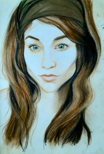 Katie's Portrait by Oil Pastel Sketch V
