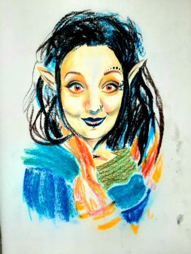 Self Portrait v by Oil Pastel Sketch V