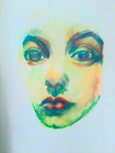 Self Portrait i by Oil Pastel Sketch V