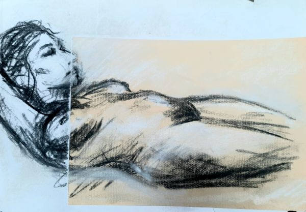 Life study in charcoal by Green Triangle Teal Circle
