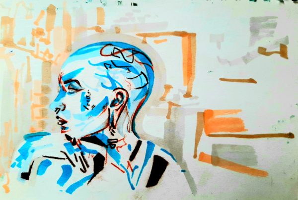 Bald Women by Oil Pastel Sketch V