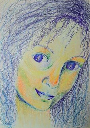 Self Portrait In Colour, aged 15 by Oil Pastel Sketch V