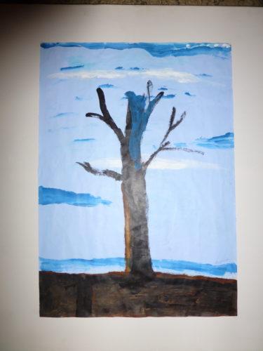 P1000029.jpg bare blue storm-broken tree by Milun Ghosh