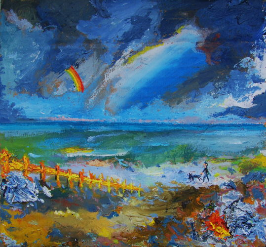 SOLD – 'Memory of Worthing Seafront with Rainbow' by SOLD  'Outdoor Painting # 2 (Flowers and Shrubbery) (Lemba, Cyprus)'