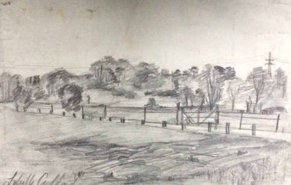 sketch in pencil Landscape by larks ascending Africa dreams