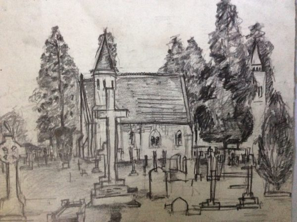 Sketch in pencil church by Juliette Goddard