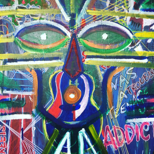 TRIBAL DRUG ADDICT MASK (ACRYLICS AND PENS ON CANVAS) by MAT THE OLD MAN