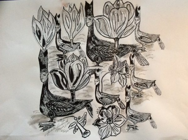 sketches for Tulips series bishops by Juliette Goddard