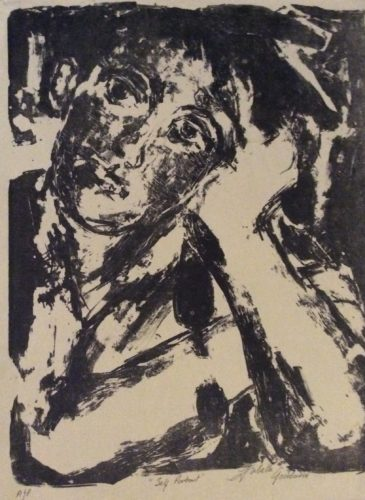Self Portrait Stone lithograph by larks ascending Africa dreams
