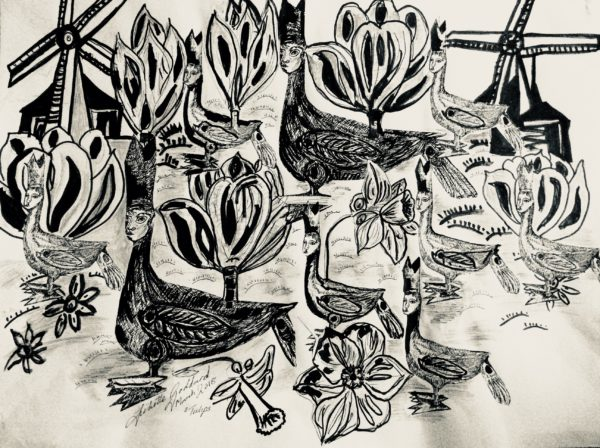 Sketch in mixed media Tulips Bishops …drawings by Juliette Goddard