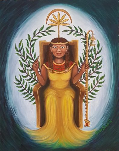 Seshat goddess of writing, maths, astrology, measurement by Chloe Shalini