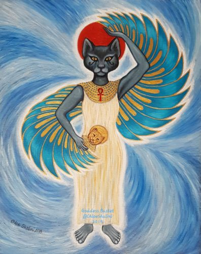 Bastet Egyptian cat goddess by Chloe Shalini