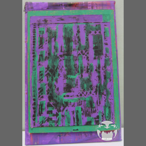 Green & Purple Painted Lino Print by Madcoast