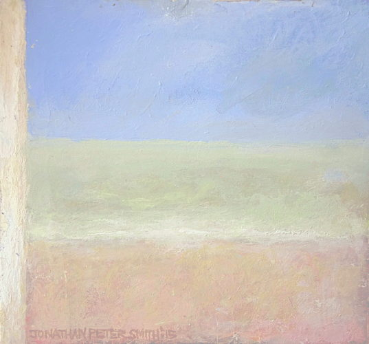 'Worthing Seascape with Beach Hut' 2015 by Jonathan Peter Smith
