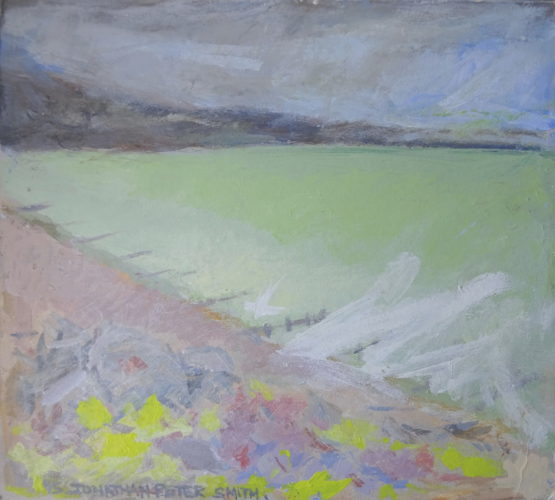 'Worthing Seascape with Yellow and Purple Flowers, Light Green Sea and Grey Sky'  2015 by Jonathan Peter Smith